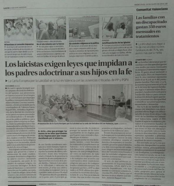 Levante noticia Carta Europea Valencia 2014