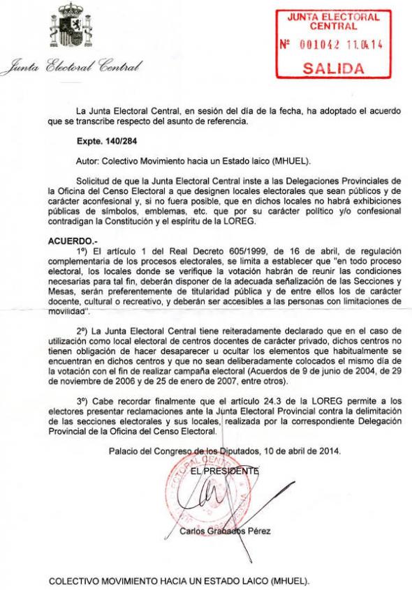 Junta Electoral simbolos religiosos Colegios Electorales MHUEL 2014