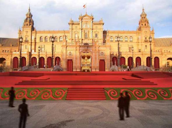 altar Macarena Plaza España Sevilla 2014