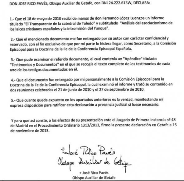 documento obispo Getafe