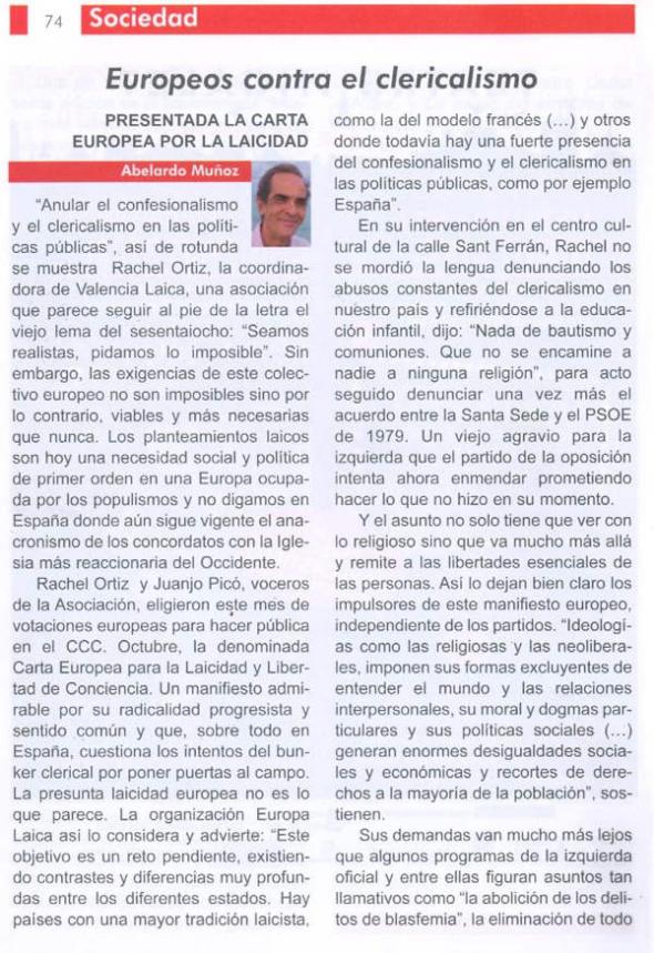 La Turia Carta Europea Laicidad en Valencia 2014