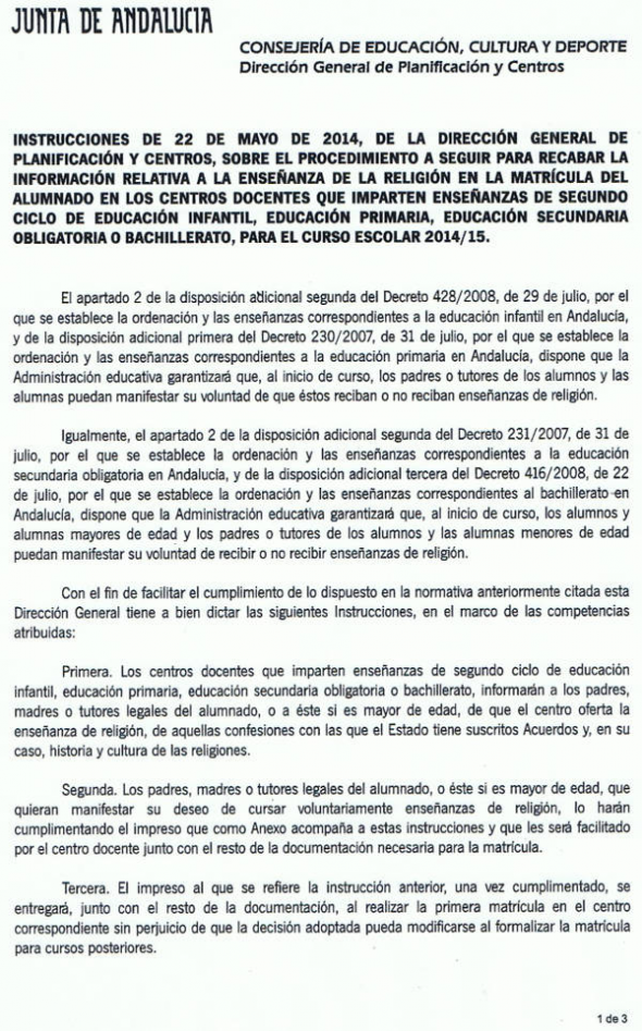 Instrucciones de la junta de andaluc a sobre matriculaci n for Consejeria de educacion junta de andalucia