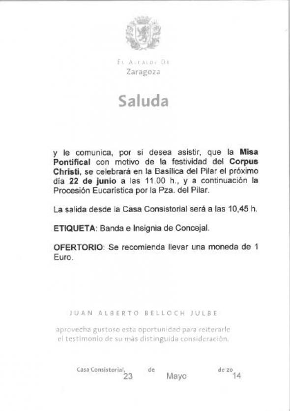 invitacion alcalde Corpus Zaragoza 2014