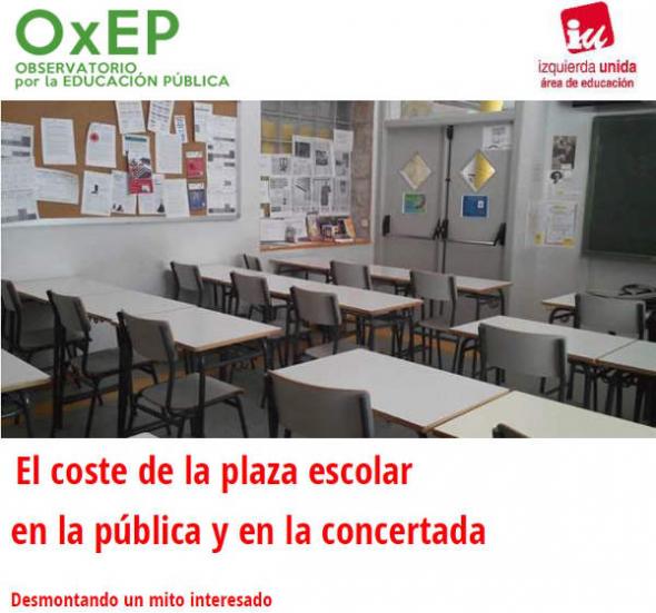 coste plaza escolar pública y concertada 2014