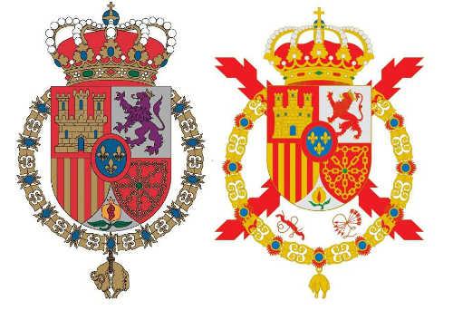 escudos reales Felipe VI y Juan Carlos I