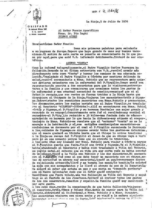 carta 1976 al Nuncio Argentina 1