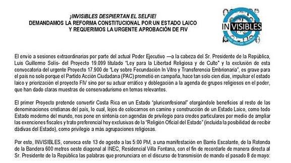 Comunicado Invisibles ley libertad religiosa Costa Rica