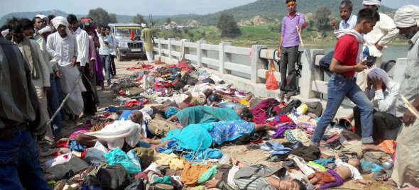 muertos avalancha celebración religiosa India 2014