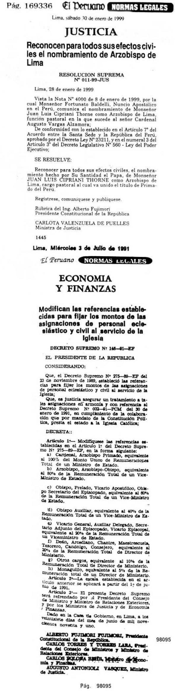 sueldos clero Perú