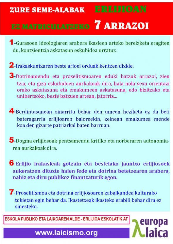 Cartel razones NO religión euskera  2014