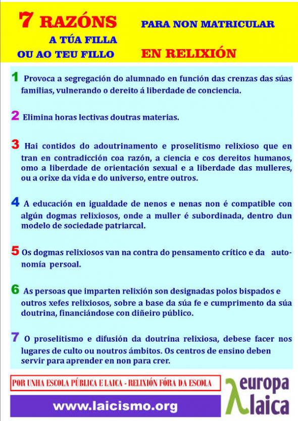 Cartel razones NO religión gallego  2014