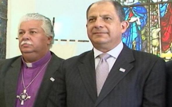 Solís, presidente Costa Rica y su ministro obispo luterano 2014