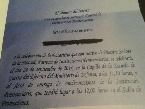 invitación acto M.Interior con misa 2014