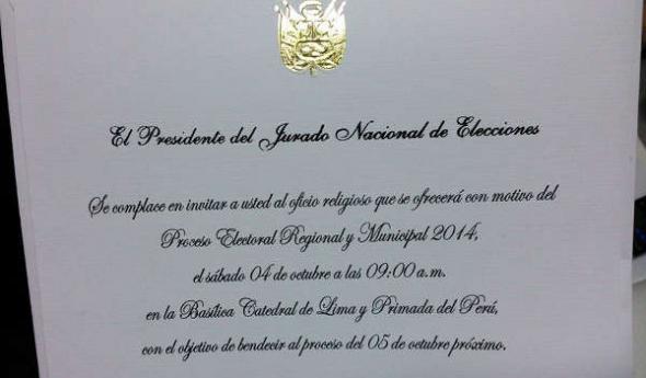 invitación misa JNE Perú 2014