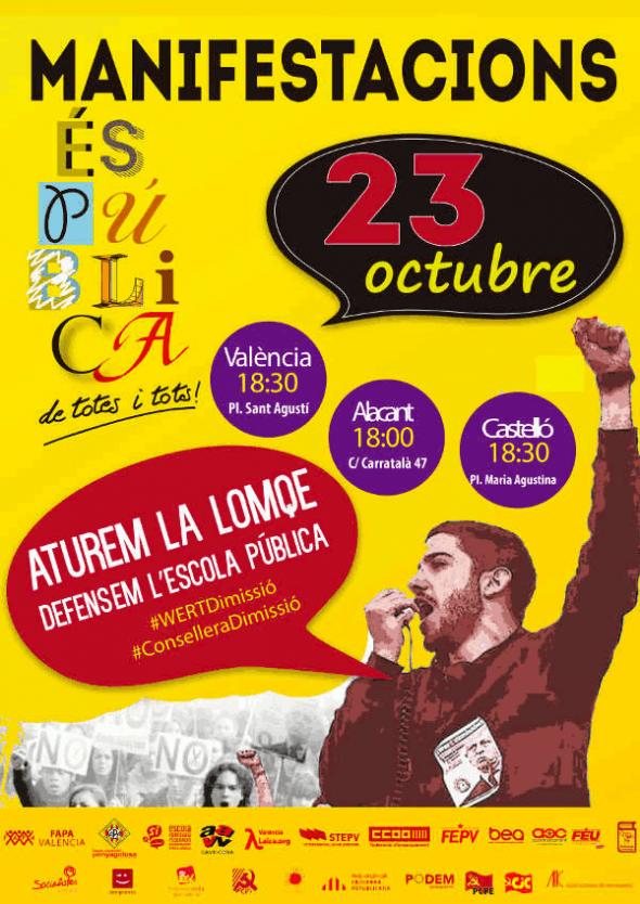 Cartel mani contra LOMCE Valencia Laica oct 2014