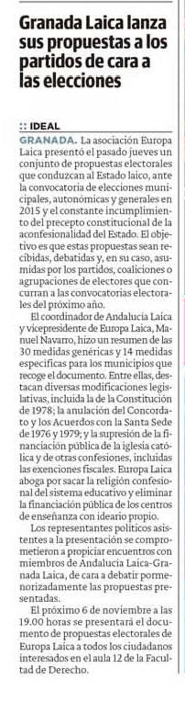 Granada Laica propuestas electorales Ideal