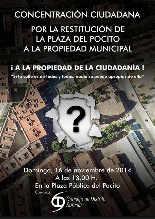 Cartel contra inmatriculación Plaza del Pocito en Córdoba 2014
