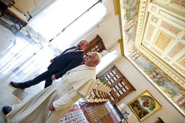 Bergoglio y Schulz presidente Parlamento Europeo