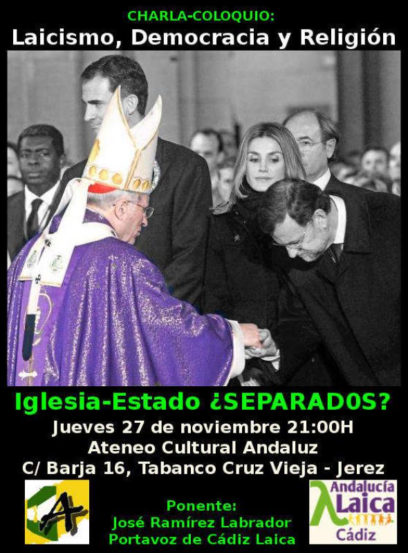 cartel charla laicismo ateneo jerez 2014