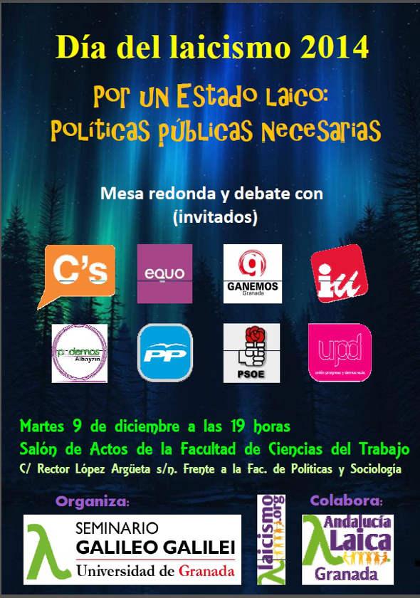 Cartel Día Laicismo 2014  Granada