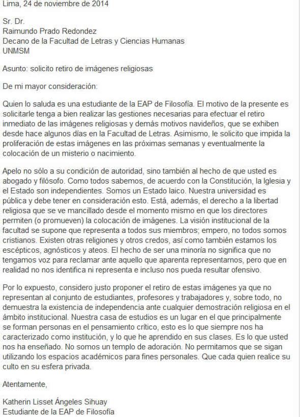 petición Perú universidad laica en navidad 2014