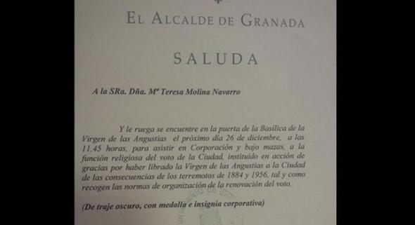 invitación municipal voto virgen terremotos 2014 Granada