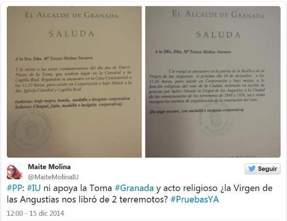 invitación municipal voto virgen terremotos 2014 Granada Pruebas YA