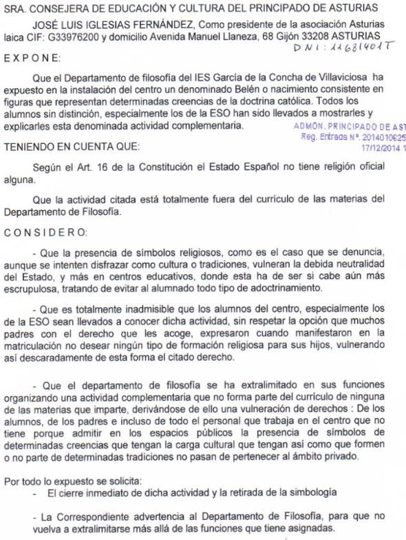 denuncia Asturias Laica belen 2014