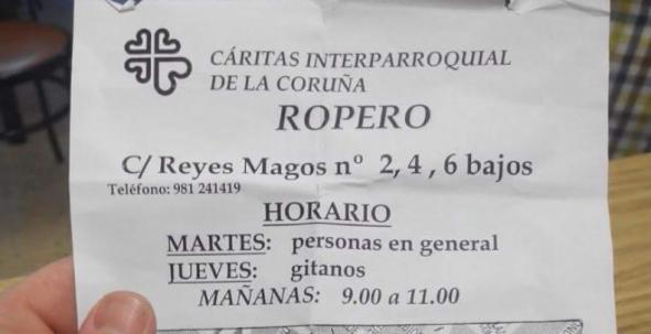 horario ropero Cáritas A Coruña 2014