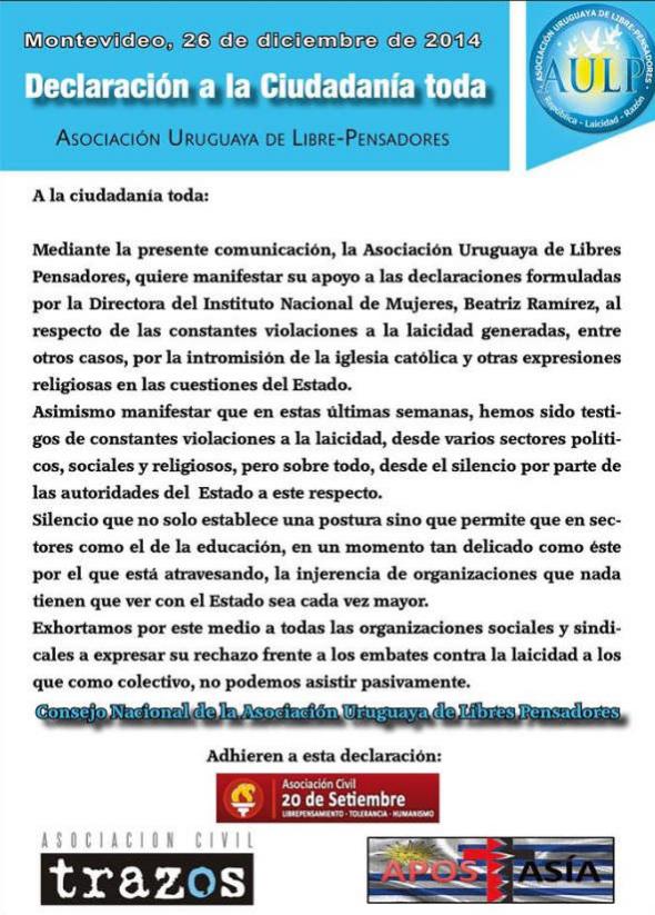 apoyo AUIL Librepensadores Uruguay