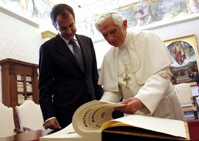 José Luis Rodríguez Zapatero, en su visita al Vaticano en calidad de presidente de turno de la UE. EFE
