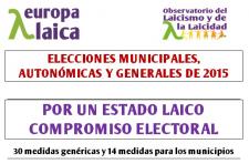 Por un Estado Laico. Compromiso electoral ante las elecciones municipales, autonómicas y generales 2015