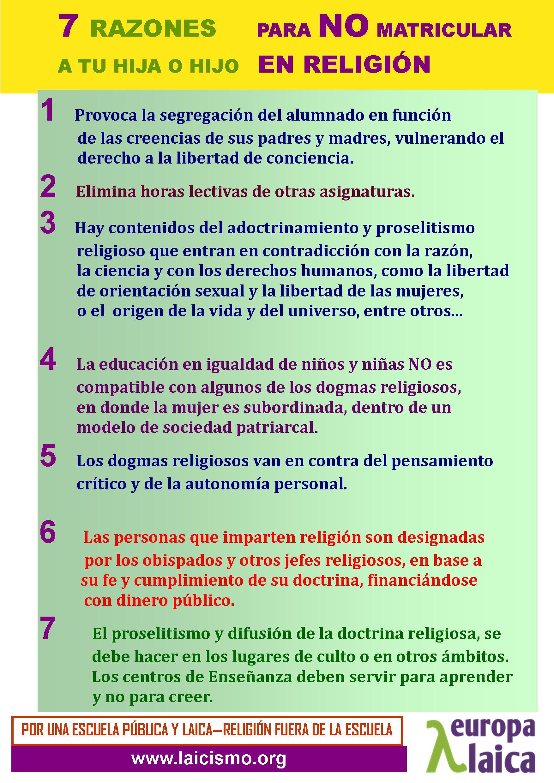 Cartel 7 razones NO religion castellano 2014