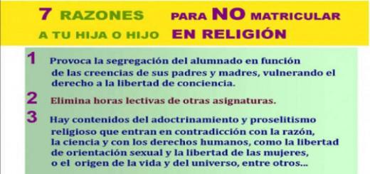 Cartel 7 razones para no matricular en religión