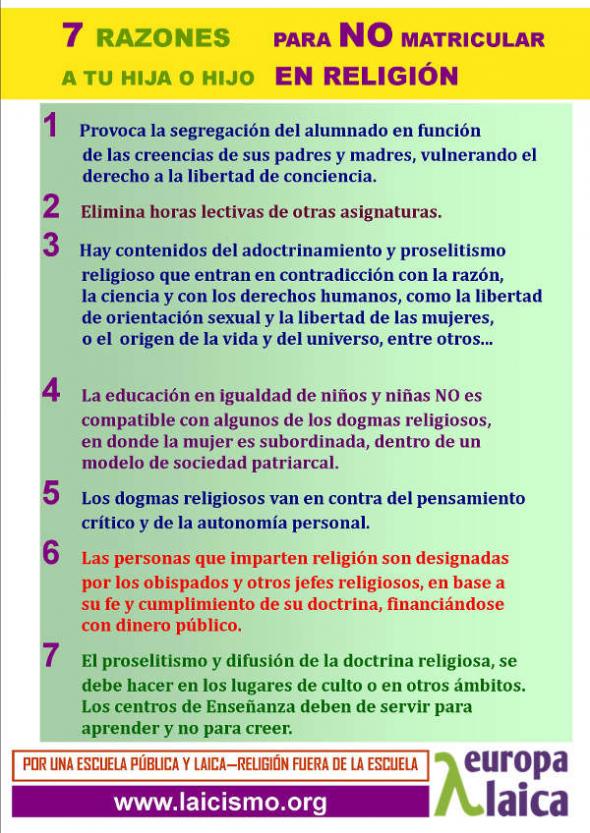 cartel 7 razones no matricular