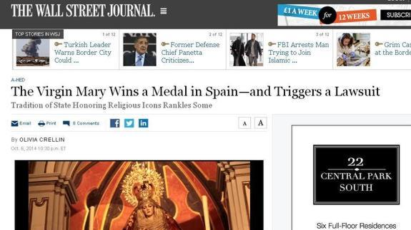 medalla virgen amor The Wall Street Journal USA