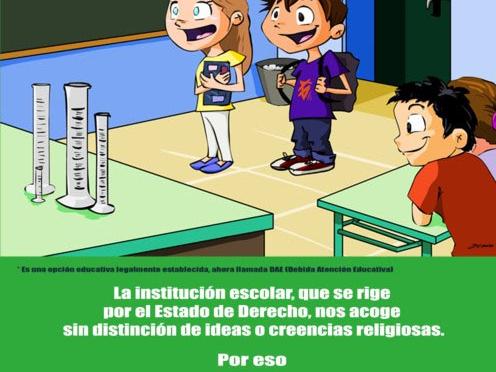 cartel religion fuera escuela
