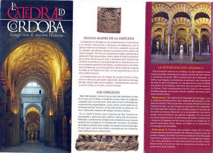 Folleto de la Mezquita convertida en Catedral de Cordoba