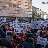 Protesta de MHUEL por mla presencia municipal en actos religiosos de San Valero Zaragoza 2015 Foto Diego Diaz