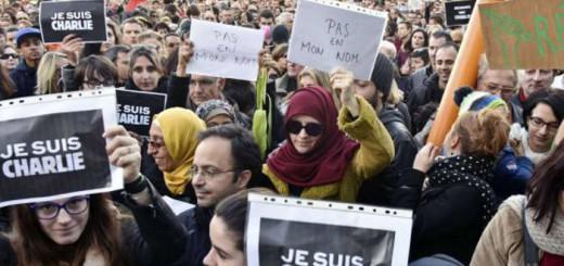 Manifestación contra el atentado al semanario Charlie Hebdo 2015