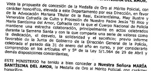 Orden Ministerio Interior medalla de oro Virgen del Amor 2014
