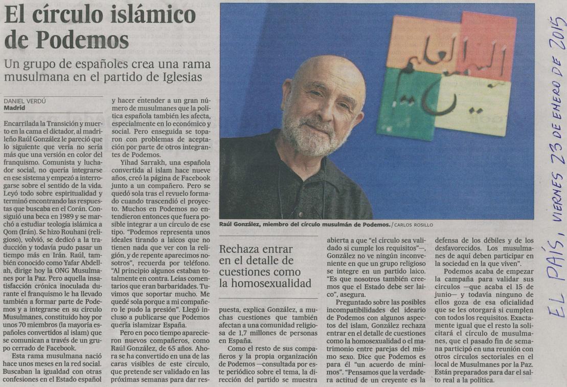 Noticia aparecida en el diario El País, el 23 de enero de 2015