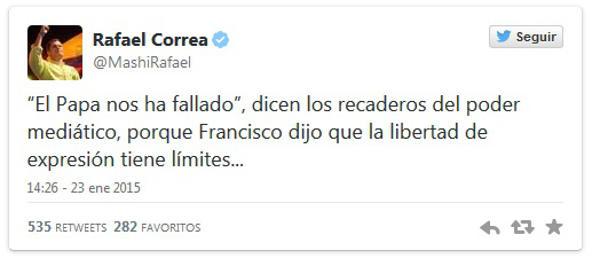 Rafael Correa presidente Ecuador tuit sobre libertad de expresión 2015