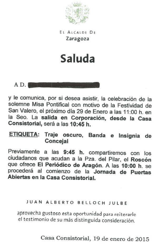Saluda alclade Zaragoza San Valero 2015