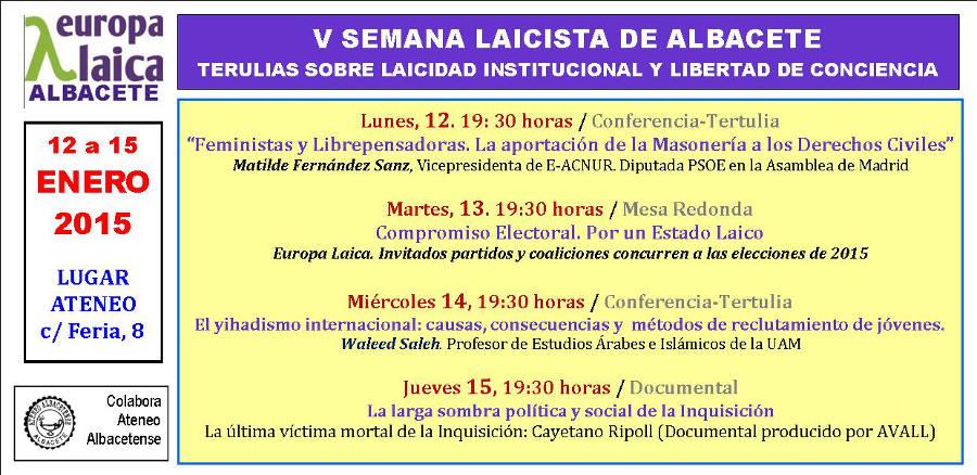 V Jornadas laicistas de Albacete