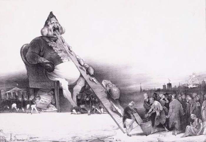 Viñeta del rey Luis Felipe de Francia, de Daumier y Philipon, 1832.