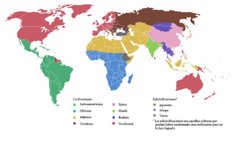 Civilizaciones según  Huntington