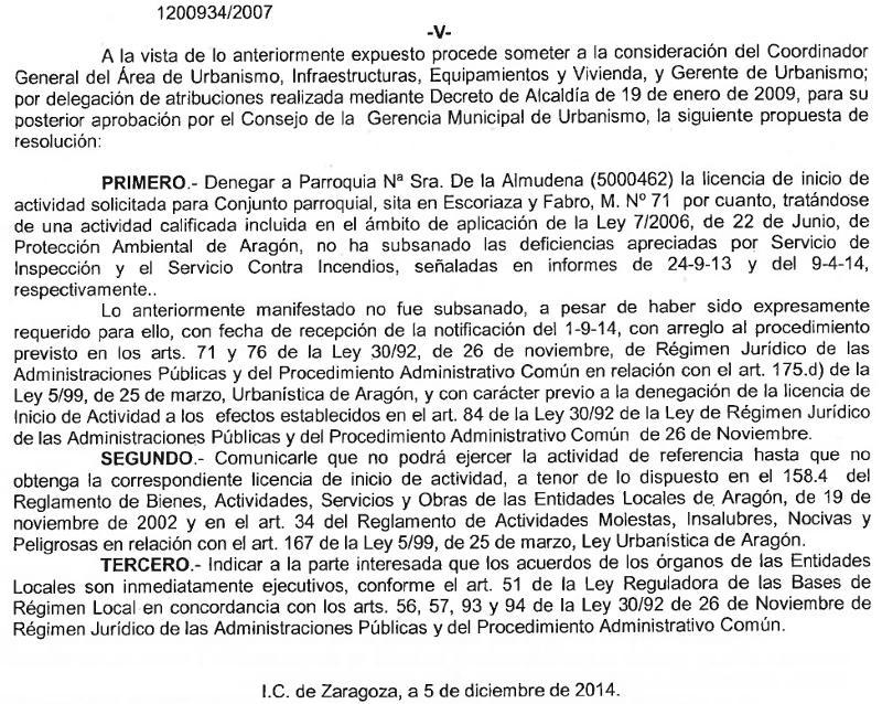 Resolución municipal denegando licencia al conjunto parroquial N.S. de la Almudena en Zaragoza 2014