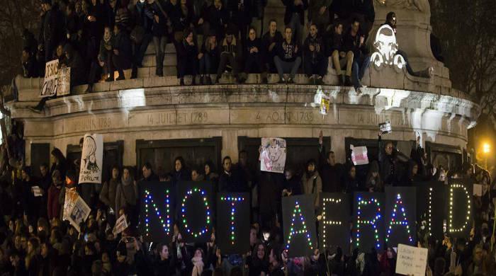 Manifestación contra atentado Charlie Hebdo  en París 2015