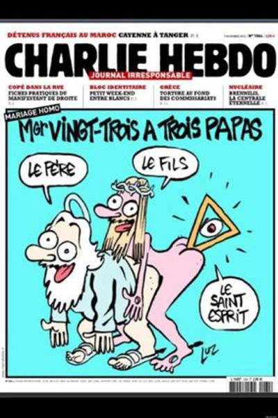 portada Charlie Hebdo dios trino